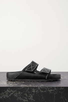 Proenza Schouler Birkenstock Arizona Topstitched Glossed-leather Sandals - Black
