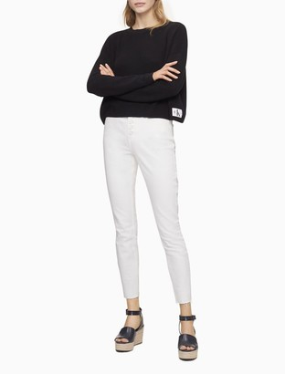 Calvin Klein Solid Crewneck Monogram Logo Patch Cropped Sweater