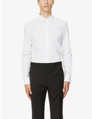 Emporio Armani Slim-fit pearlescent-button stretch-cotton shirt