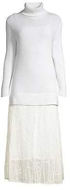 M Missoni Women's Layered Knit Turtleneck Midi Dress