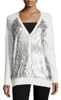 Haute Hippie Sequined-Front V-Neck Cardigan, Antique Ivoire/Matte