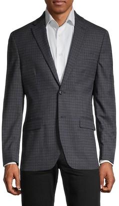 Tommy Hilfiger Standard-Fit Tattersall Wool-Blend Blazer