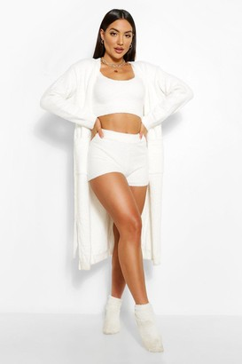 boohoo Chenille Belted Cardigan