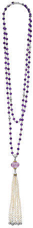 Lagos 18k Caviar Forever Beaded Pearl Tassel Necklace, 36""