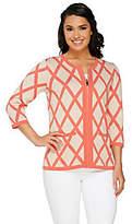 Liz Claiborne New York Window Pane Sweater Jacket w/ Pockets