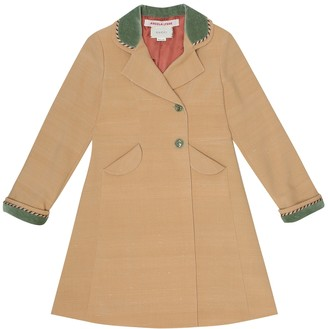 Gucci Kids Velvet-trimmed wool and silk coat
