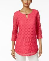 JM Collection Lace Keyhole Top, Only at Macy's