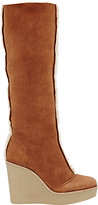Chloé WOMEN'S SHEARLING-LINED WEDGE BOOTS-BROWN SIZE 9.5