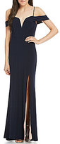 Jodi Kristopher Off-The-Shoulder High Slit Long Dress