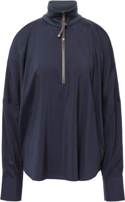Brunello Cucinelli Oversized Cold-shoulder Bead-embellished Stretch-silk Blouse