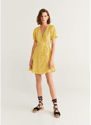 MANGO Polka Dot Wrap Dress - Yellow