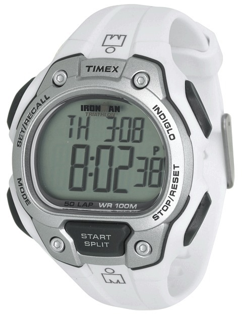 Timex IRONMAN® Traditional 50-Lap Full-Size White/Silver-Tone/Gray Resin Strap Watch