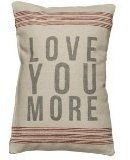 Primitives by Kathy 9-Stripe Love You More Linen Pillow, 10-Inch by 15.5-Inch