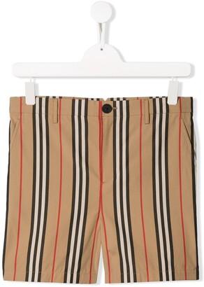 BURBERRY KIDS TEEN Icon Stripe Cotton Chino Shorts