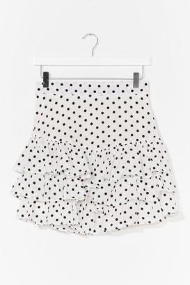 Nasty Gal Womens Tier for It Spotty Mini Skirt - White - L