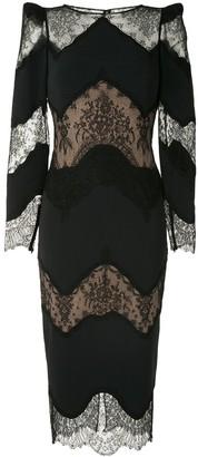 ZUHAIR MURAD Lace Panel Midi Dress