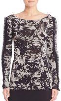 Fuzzi Rose-Print Ruffle Sleeve Top