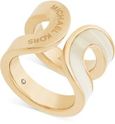 Michael Kors Gold-Tone Inlaid Stone Curved Statement Ring