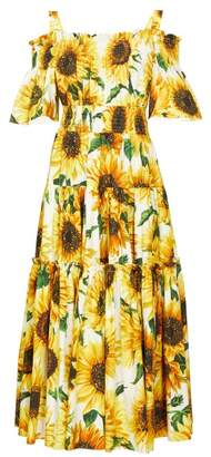 Dolce & Gabbana Sunflower Print Tiered Cotton Poplin Midi Dress - Womens - Yellow Multi