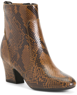 Comfort Leather Snake Booties