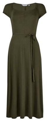 Dorothy Perkins Womens Dp Petite Khaki Ruched Midi Dress