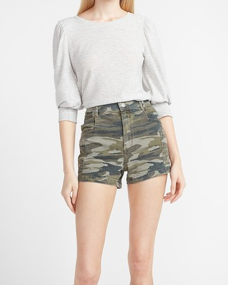 Express Super High Waisted Camo Utility Shorts