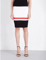 St. John Striped high-rise crepe skirt
