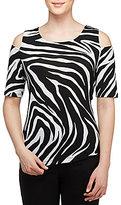 Allison Daley Petites Cold-Shoulder Zebra Print Knit Top