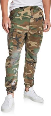 R 13 Men's Camouflage Cargo Pants with Paint Spots