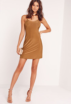 Missguided Strappy Slinky Skater Dress Brown