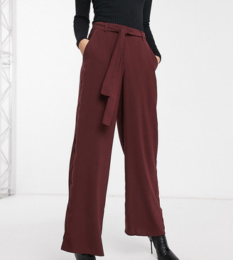 Y.A.S Tall wide leg trousers in burgundy-Brown
