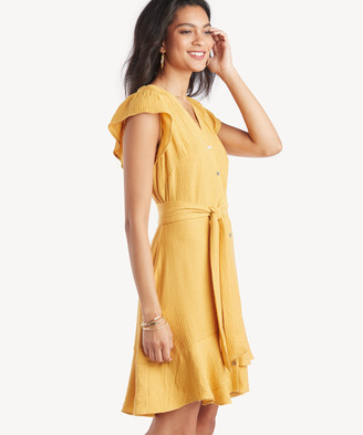 1 STATE Women's Short Sleeve Bttn Down Asymmetrical Ruffle Dress Gold Sun Size 6 From Sole Society