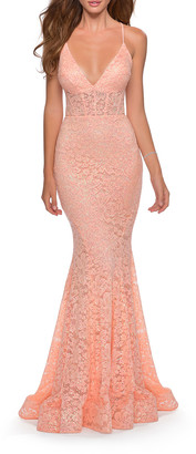 La Femme Deep V-Neck Strappy Lace-Up Back Lace Mermaid Gown