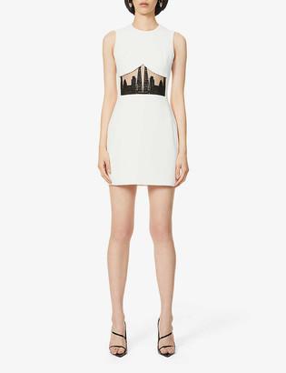 David Koma Sykline motif crepe mini dress
