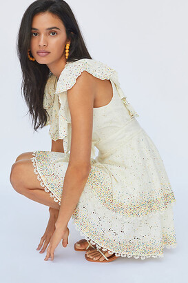 Farm Rio Beaded Eyelet Mini Dress By in Beige Size S