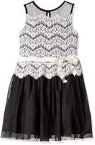 Amy Byer Big Girls' Sleeveless Lace to Mesh Fit and Flare Dress