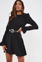 Missguided Black Ruffle Detail Skater Dress