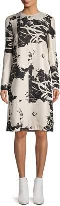 Calvin Klein Long-Sleeve Printed Silk Dress