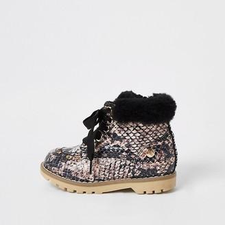 River Island Mini girls beige snake printed faux fur boots