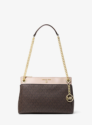 MICHAEL Michael Kors MK Susan Small Logo Convertible Shoulder Bag - Brn/sftpink - Michael Kors