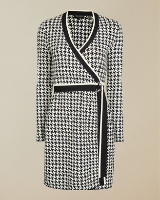 Ted Baker GEYMMA Dogtooth knitted wrap dress
