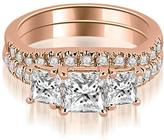 Ice 1 8/9 CT TW Lucida Three-Stone Princess Cut Bridal Set in 18K Rose Gold