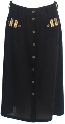 Relax Baby Be Cool A-Line Wool Button Up Midi Skirt With Pockets Black