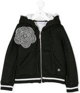 Simonetta zip up hoodie with flower appliqué