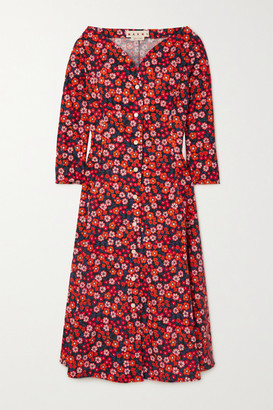 Marni Pop Garden Floral-print Cotton-poplin Midi Dress - Black