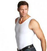 Insta Slim Muscle Tank Men's Compression Under Shirt (Black w/ White Trim, L)