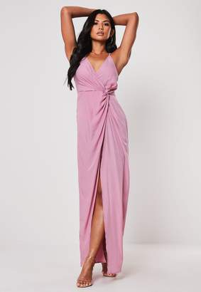 Missguided Lilac Plunge Wrap Twist Maxi Dress