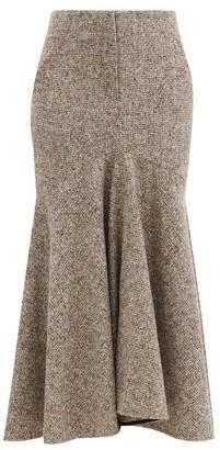 Petar Petrov Ronly Fluted-hem Wool-blend Tweed Midi Skirt - Brown