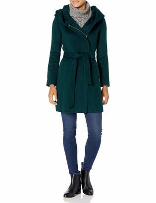 Cole Haan Women's Slick Wool Asymmetrical Zip Coat