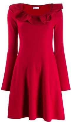 RED Valentino Ruffled Knitted Short Dress